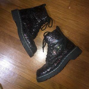 Glitter combat boots
